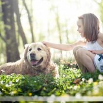 Une petite fille et son chien